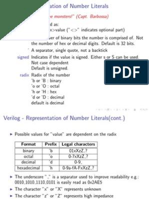 Verilog Number Literals | Encodings | Arithmetic