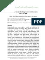Analise Da Variacao Das Temperaturas Minimas Para Cascavel PR