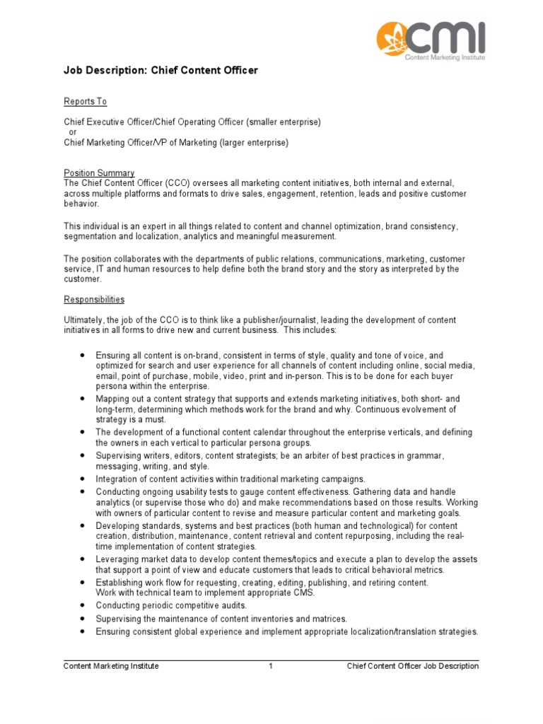 Chief Content Officer Job Description Sample | Marketing | Strategic ...