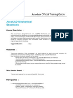 Autocad Mechanical Essentials Training SYLLABUS