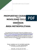 Propuestas ciudadanas para la movilidad ciclista en Granada y su área metropolitana