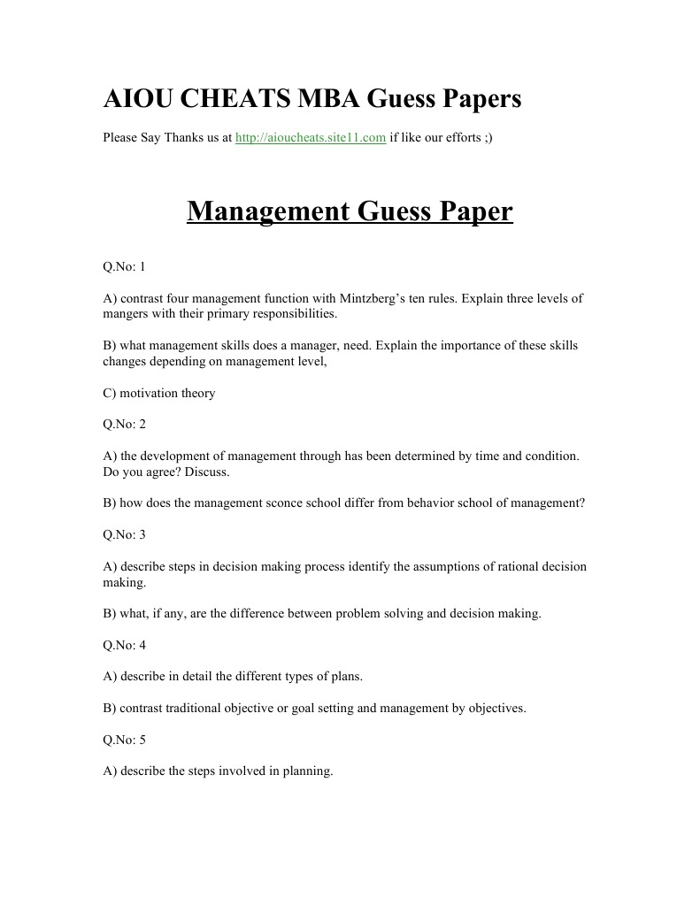 Management Guess Papers | Leadership | Leadership & Mentoring