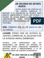 Cartel Asamblea de Vecinos de Getafe Norte 21 de Julio