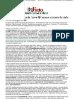 2012 - Giugno 12 - Il Fatto Quotidiano - Radio Vaticana Lascia l'Area Di Cesano, Azzerate Le Onde Elettromagnetiche