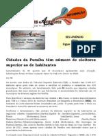 Cidades da Paraíba têm número de eleitores superior ao de habitantes