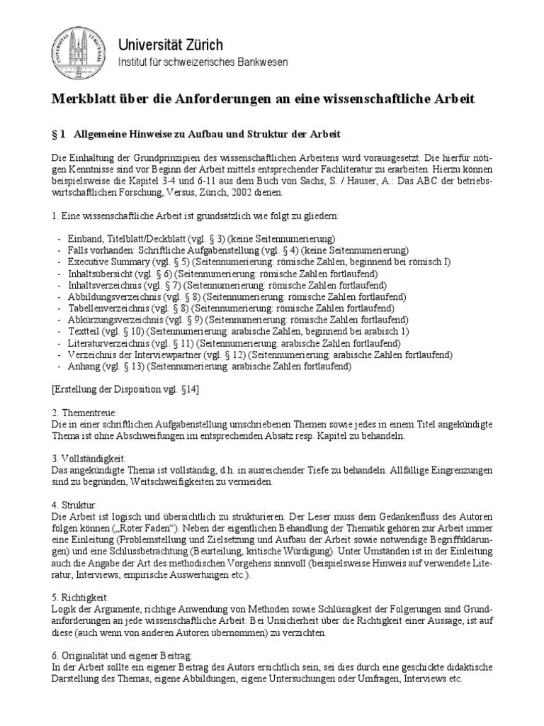 Merkblatt Wissenschaftl Arbeit