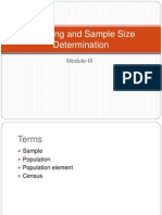 Sampling and Sample Size Determination