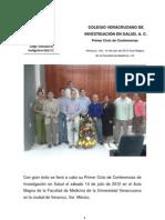 Colegio Veracruzano de Investigación en Salud, A. C. Primer Ciclo Conferencias