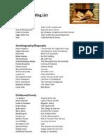 Year 10 Reading List
