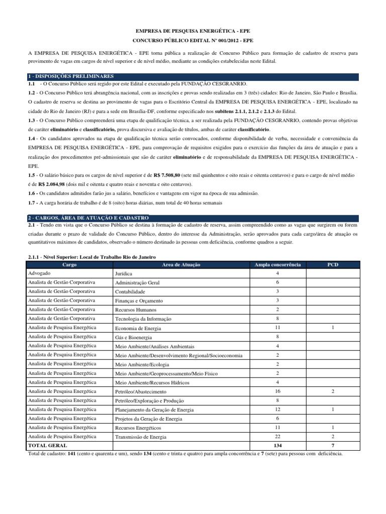 4b0003df3 Edital do concurso da Empresa de Pesquisa Energética (EPE)