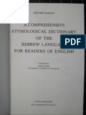 Etymological Dictionary of the Hebrew Language pdf