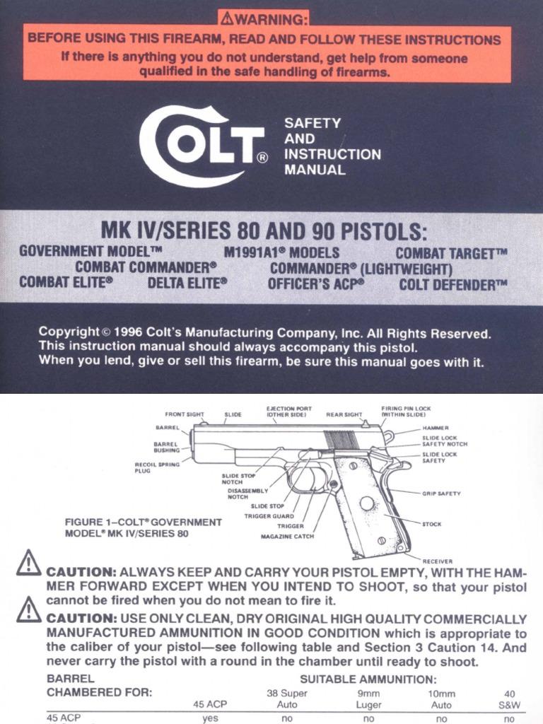 Colt MK-IV Series 80 & 90 Pistols | Trigger (Firearms) | Cartridge  (Firearms)