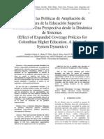Articulo - Efecto de las Políticas de Ampliación de Cobertura de la Educación Superior Colombiana. Una Perspectiva desde la Dinámica de Sistemas.