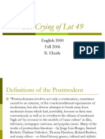 Notes on Crying of Lot 49 and Postmodernism