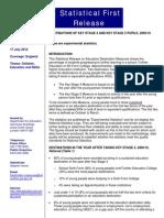 Dept for Education Statistical First Release on Education Destination Measures