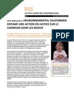 FR Emmanuel California Envinmt Grp Initiate Legal Action on Cadmium in Jewelry