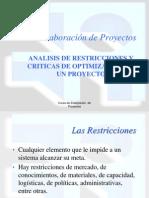Analisis de Restricciones y Criticas de Optimizacion de Un Proyecto