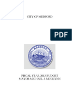 City of Medford Fiscal Year 2013 Budget Updated July 17, 2012