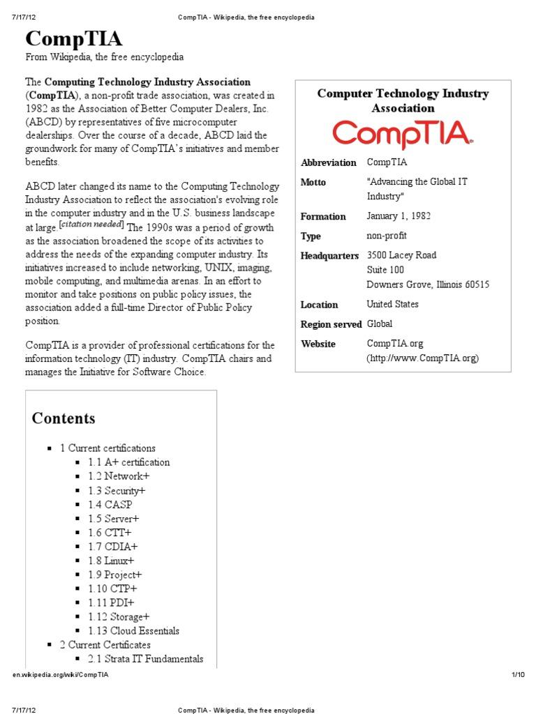 Comptia Wikipedia The Free Encyclopedia Comp Tia Information