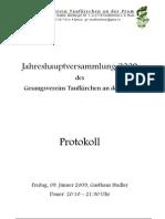 Gesangsverein Taufkirchen GV Protokoll 2009
