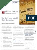 Hunter Healey Ltd - Dont Die Intestate