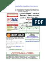 Apostila Digital Concurso banpara  banco do para Técnico Bancário 2012 download prova anterior público banpara - Banco do para 2012 tecnico bancario baixar gabarito