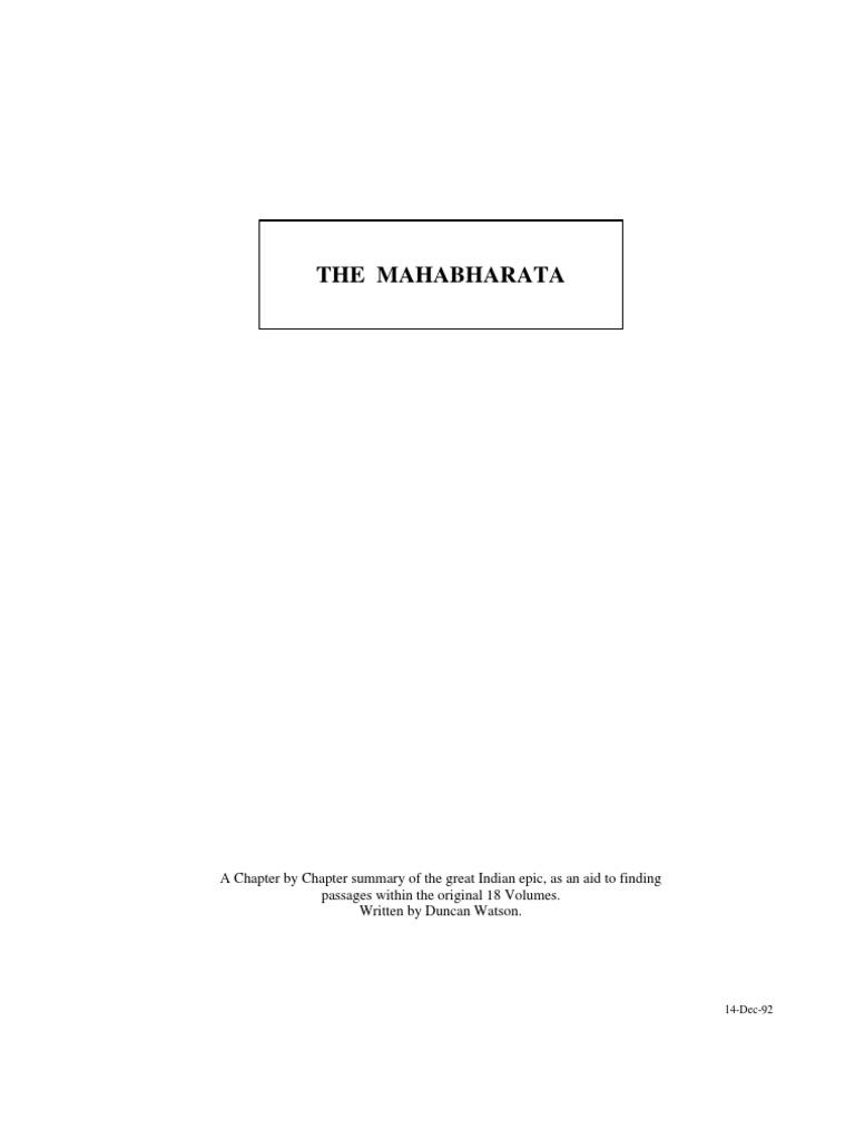 mahabharata by ganguli a chapter wise summary d watson mahabharata by ganguli a chapter wise summary d watson mahabharata 1st millennium bc books