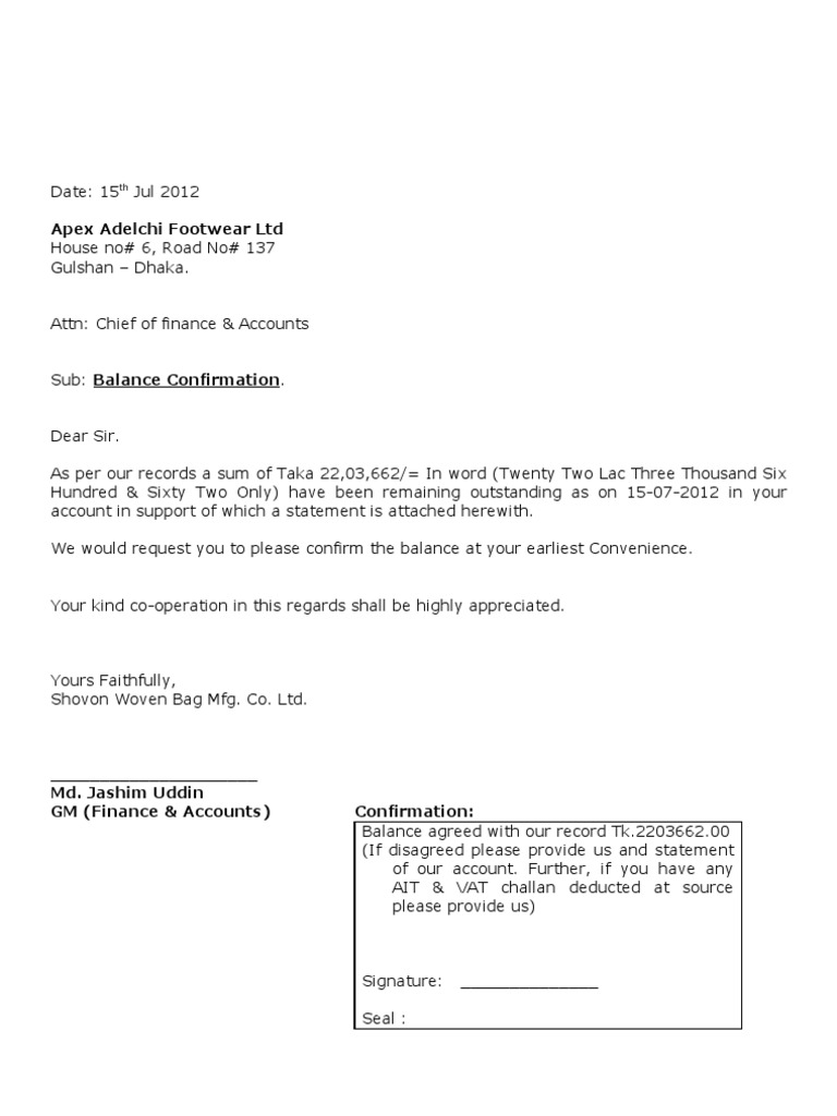 best photos of zero balance letter formal outstanding balance confirmation letter dtd 10 07 2011 dhaka 196