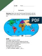 3rd Grade | Continents Worksheet