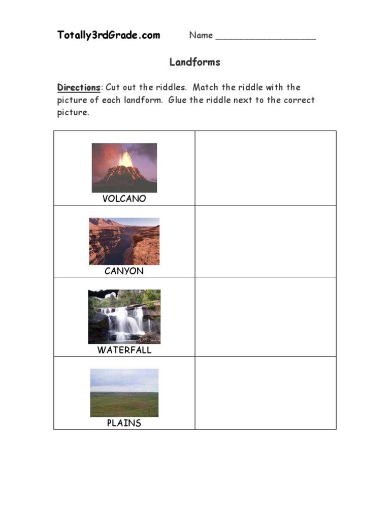 3rd Grade | Landforms Worksheet | Volcano | Mountains