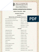 Sem I (July 2012-14) - Academic Calendar & Schedule
