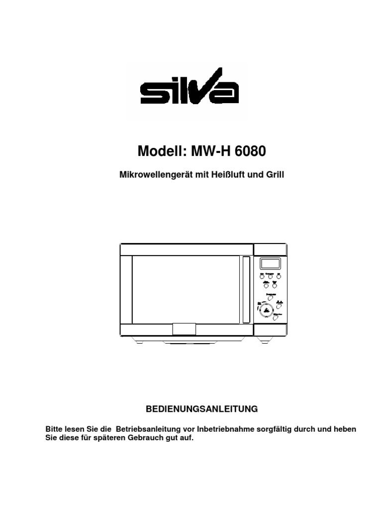 Silva MW-H 6080 mikrowellengerät mit heißluft und grill D