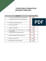Lista de Cotejo Para El Producto de Microsoft Word 2007