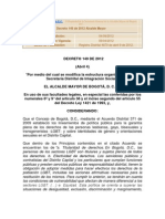 Decreto 149 de 2012