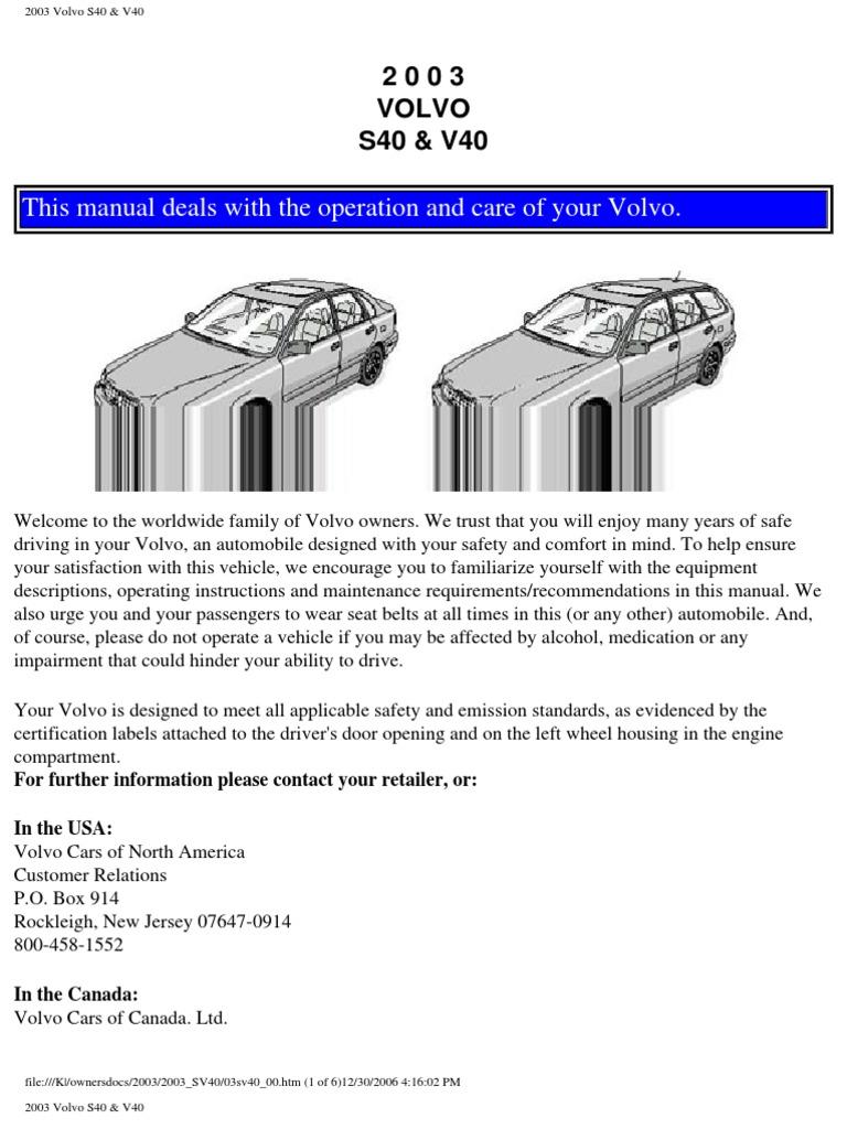 volvo s40 v40 owners manual 2003 airbag seat belt rh scribd com Volvo S80 Volvo S60 R