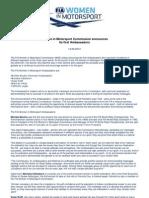 FIA Women in Motorsport Press Release