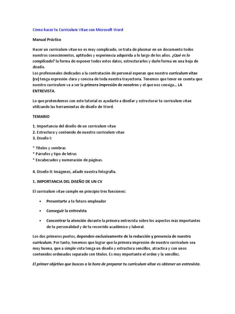Cómo hacer tu Curriculum Vitae con Microsoft Word