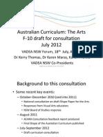 VADEA National Curriculum Forum, Response to the Draft Arts F-10 paper