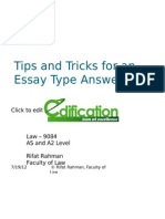 Tips and Tricks for an Essay Type Answer
