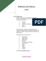 Toiletries List Library