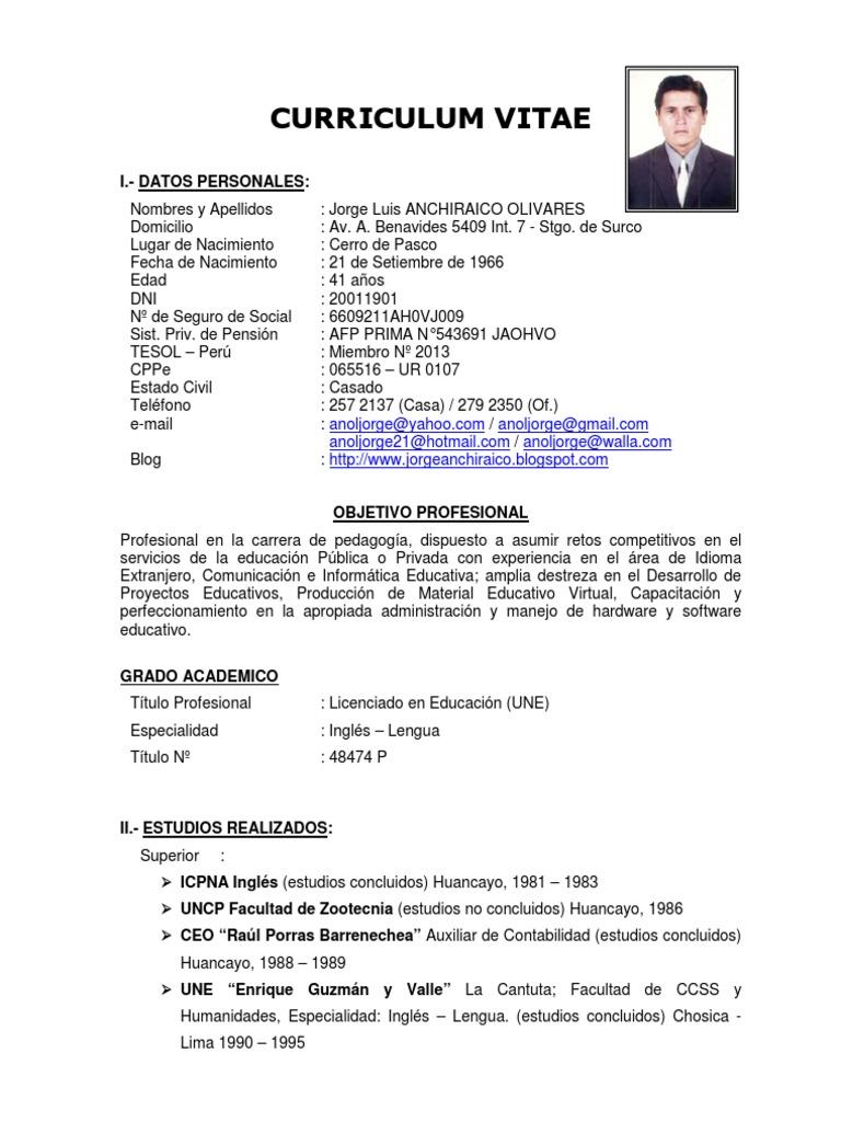 Atractivo Curriculum Vitae Formato Profesores De Inglés Friso ...