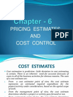 Chapter - 6 Pricing Estimates and Cost Control.