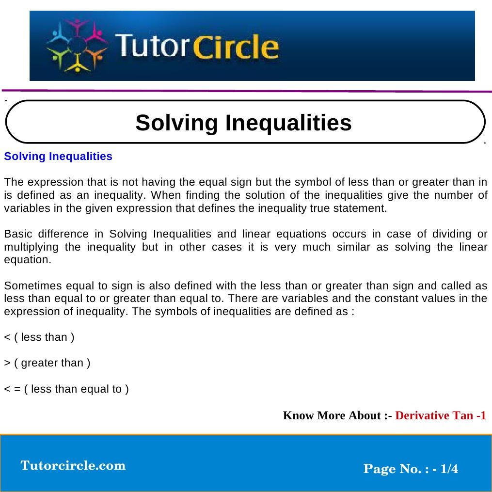Solving Inequalities Inequality Mathematics Equations