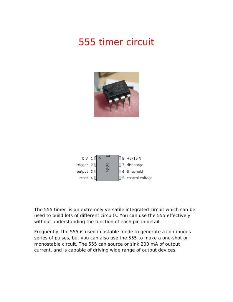 555 Timer Circuit Frequency Electrical Network The Monostable More Detail