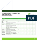 Dragon Speech Recognition Feature Matrix