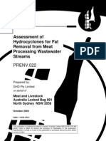 Assessment of Hydrocyclones for Fat Removal From MP Wastewater Streams
