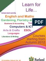 Rutland Adult Learning Courses 2012-13