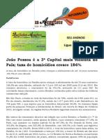João Pessoa é a 3ª Capital mais violenta do País; taxa de homicídios cresce 186%