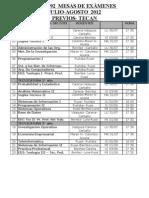 Mesas de Examen Julio-Agosto 2012 Isfd 4992 Previos