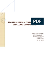 Secured User Authentication in Cloud Computing